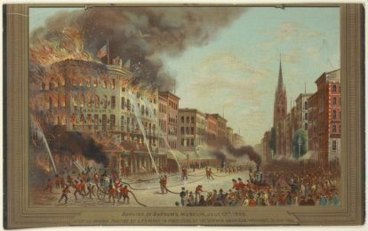 Burning of Barnum's Museum, July 13th, 1865 / after the original painting by C. P. Cranch, The Eno collection of New York City views