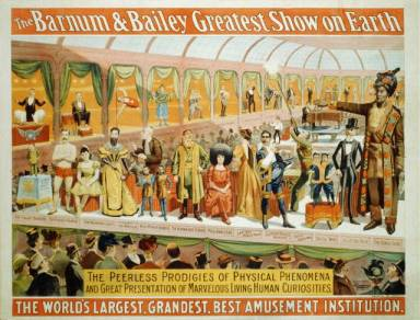 """The Barnum and Bailey Greatest Show on Earth. The Peerless Prodigies of Physical Phenomena. [with] Smallest Man Alive [and] the Congo Giant"" from New York and Cincinnati : Strobridge & Co. Lith., 1898.  Accessed through the Library of Congress Prints and Photographs Division,"